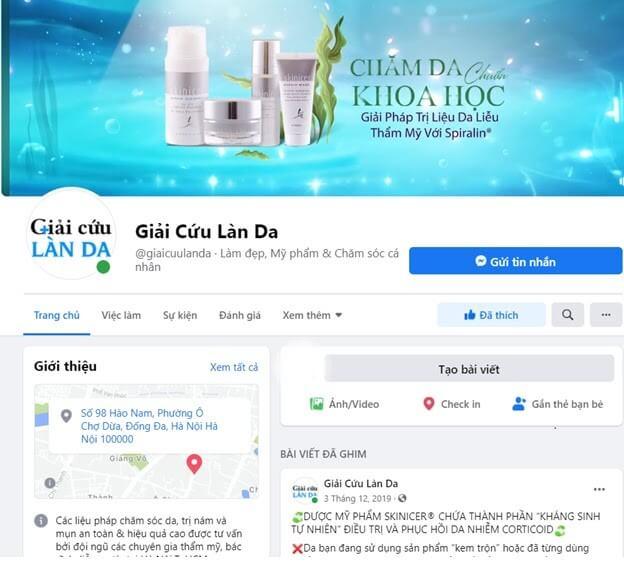 Fanpage của trang Giải cứu làn da